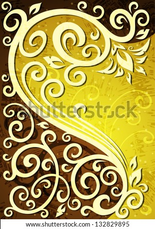 Abstract yellow vector floral illustration.