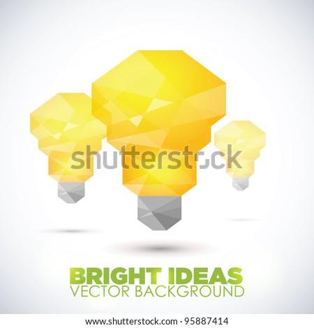 Abstract Yellow Vector Light Bulb - stock vector
