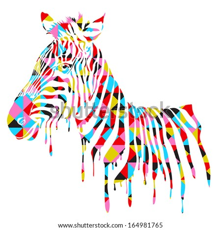 Abstract zebra - vector illustration with zebra stripes shape with geometric pattern - stock vector