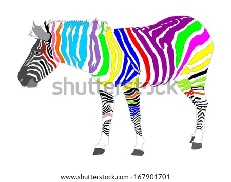 abstract zebra vector in different color print isolated on white background high detail