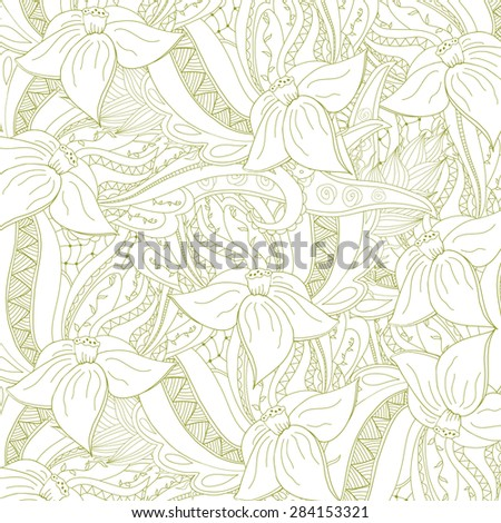 Abstract zentangle background. Doodle perfect for cards, invitations, wedding, t-shirt, brochure, flyer, presentation. Floral design with narcissus. Vector illustration. - stock vector