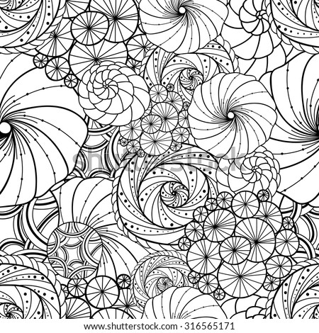 Abstract zentangle seamless pattern. Doodle black and white hand-drawn background. - stock vector