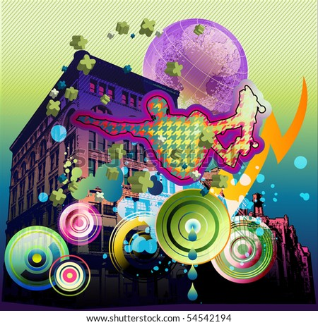 abstracted montage of skateboarder with urban background and other design elements. EPS-10 - stock vector