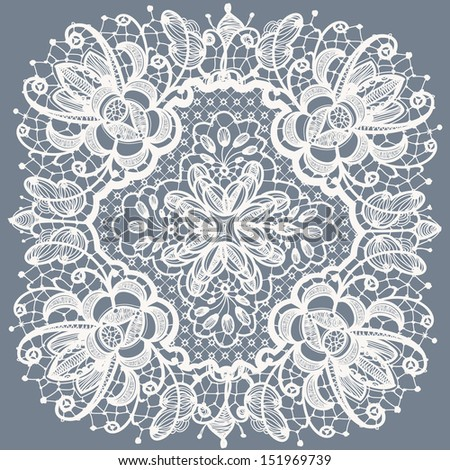 Abstraction floral lace pattern - stock vector