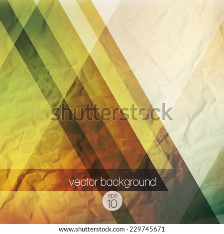 Abstraction retro grunge triangles vector background - stock vector