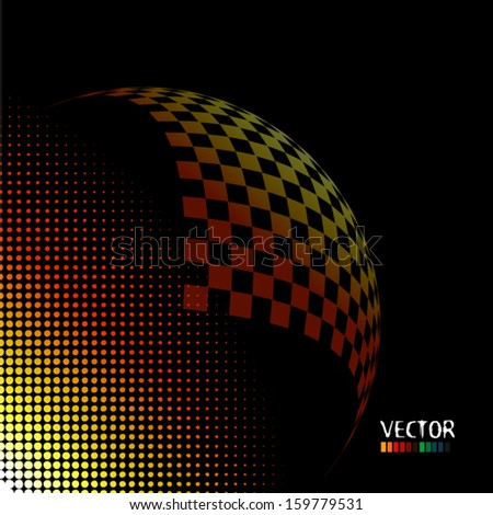 abstraction with a checkered background - stock vector