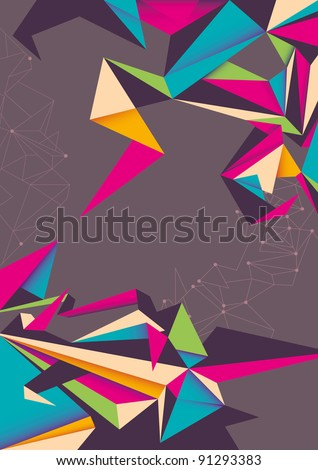 Abstraction with angular shapes. Vector illustration. - stock vector