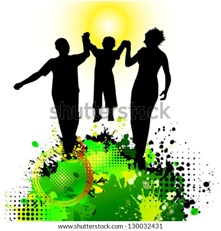 abstraction with family - stock vector