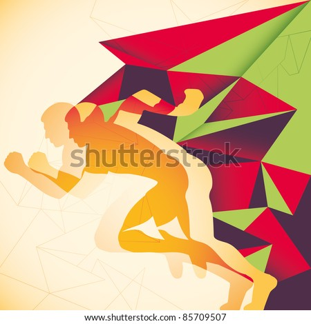 Abstraction with runner. Vector illustration. - stock vector