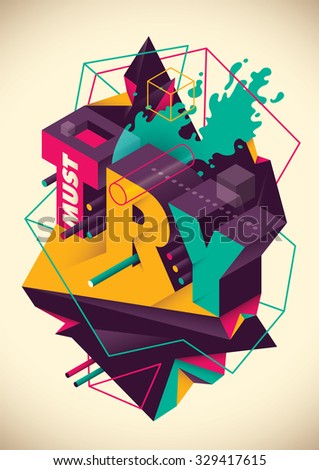 Abstraction with typography. Vector illustration. - stock vector