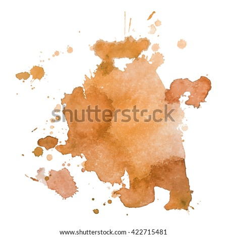 Abstrct watercolor spot with droplets, smudges, stains, splashes. Bright orange color blot in grunge style. To design and decor backgrounds, banners, flyers.