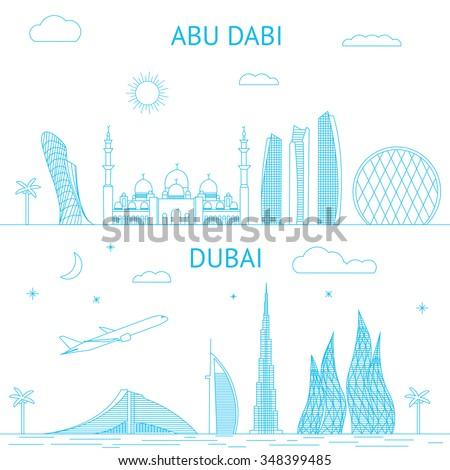 Abu Dhabi and Dubai skyline illustration in line style.  - stock vector