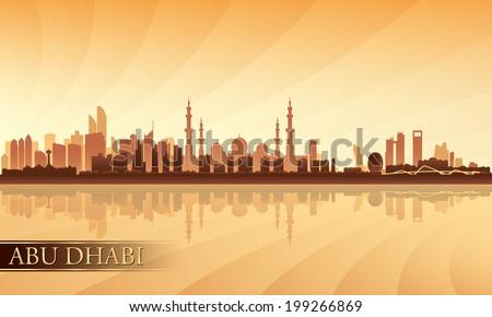 Abu Dhabi city skyline silhouette background, vector illustration  - stock vector
