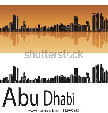 Abu Dhabi skyline in orange background in editable vector file - stock vector