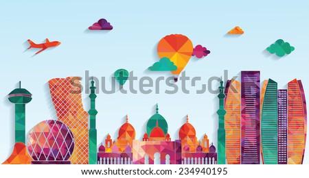 Abu Dhabi skyline. vector illustration - stock vector