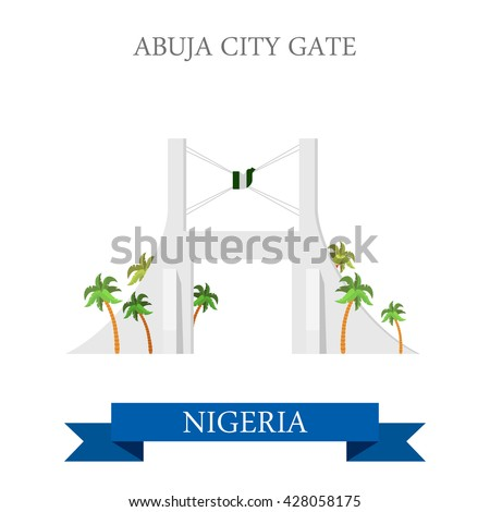Abuja City Gate in Nigeria. Flat cartoon style historic sight showplace attraction web site vector illustration. World countries cities vacation travel sightseeing Africa collection. - stock vector