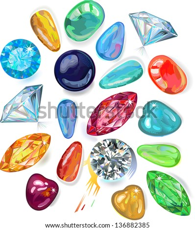 Abundance of colored gems isolated on white background   - stock vector