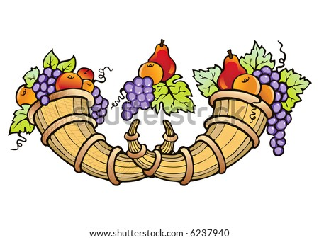 Abundance of fruit crop-symbol of fertility, prosperity and well-being - stock vector