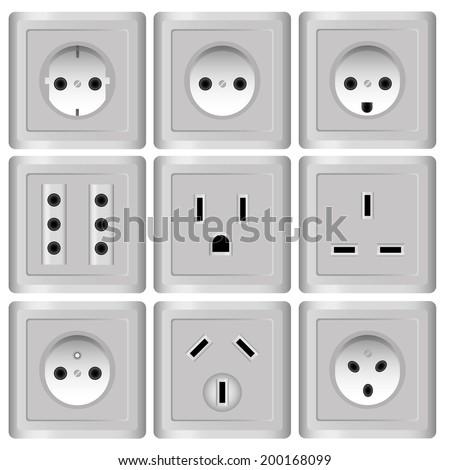 AC power sockets - stock vector