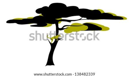 Acacia Tree with Cheetah Observing Savannah in Blacks - stock vector