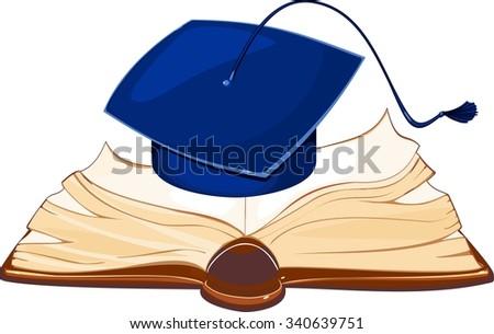 Academic cap and open book - stock vector