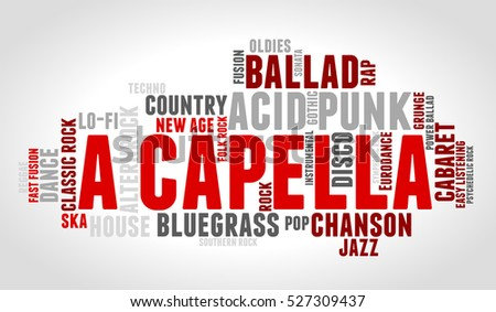 Acapella word cloud type font gradient stock vector for Classic house acapellas