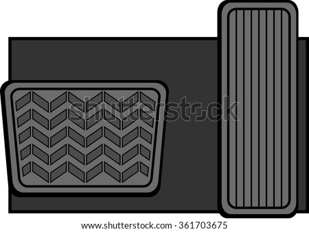 accelerator and brake pedals - stock vector