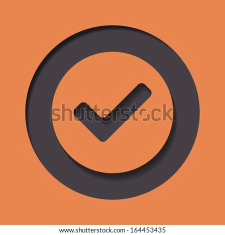 Accept icon orange on black - stock vector