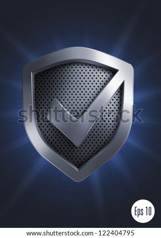 Accept shield icon. Vector