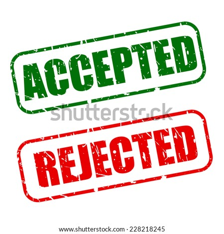 Accepted with red and rejected with green text on white background - stock vector