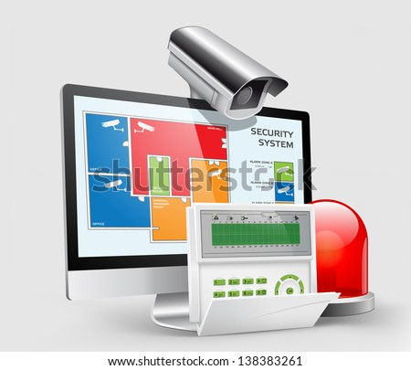 Access - Alarm zones - security system panel - stock vector