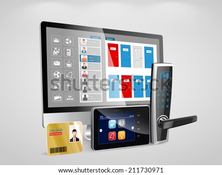 Access control and management system for hotels and hospitals  - stock vector