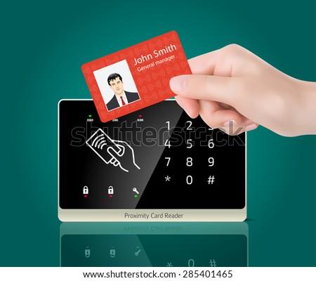Access control - Proximity card reader  - stock vector