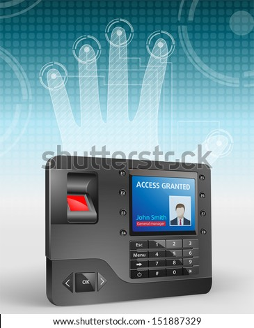 Access control system, fingerprint scanner and Mifare proximity reader - stock vector