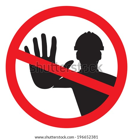 Access denied - construction worker - stock vector
