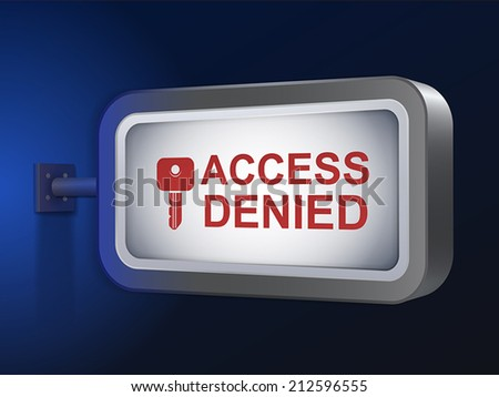 access denied words on billboard over blue background - stock vector