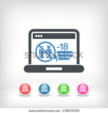 Access forbidden to web page for children - stock vector