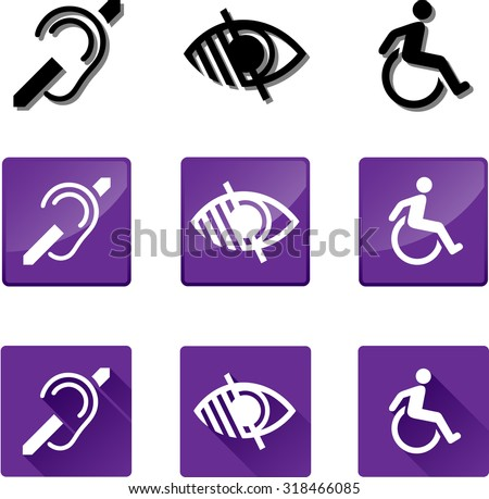 Accessibility Icons. Set of vector graphic glossy and flat icons representing the universal symbols for the Deaf, Blind and Disabled. - stock vector