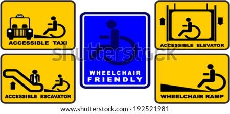 Accessible taxi, elevator, wheelchair ramp, escalator, VECTOR - stock vector