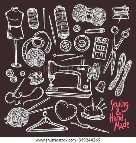 Accessories And Equipment For Sewing. Sketch Hand Drawn Set On Chalkboard - stock vector