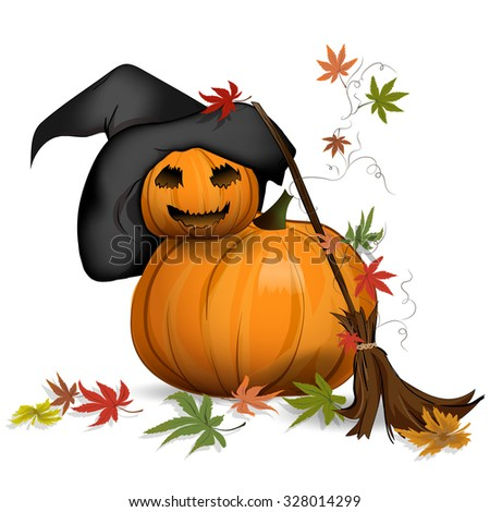 Accessories for Halloween. Beautiful vector pumpkin. The background is white