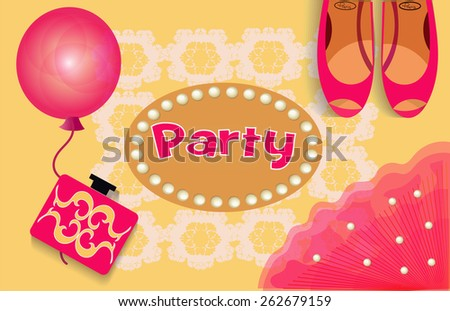 accessories for parties and frame made of pearls   - stock vector