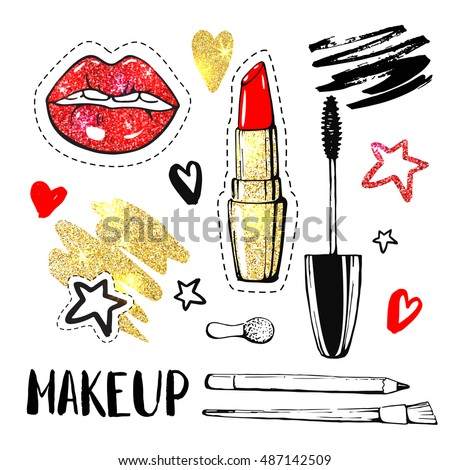 Accessories for woman. Shiny golden elements. Fashion patch badges and vector stickers. Modern pop art elements and calligraphy. Cosmetics.  Lips,  nail polish, pencil, mascara, lipstick.