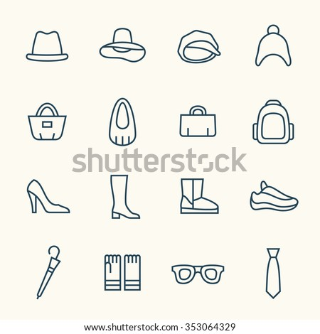 Accessories line icon set - stock vector