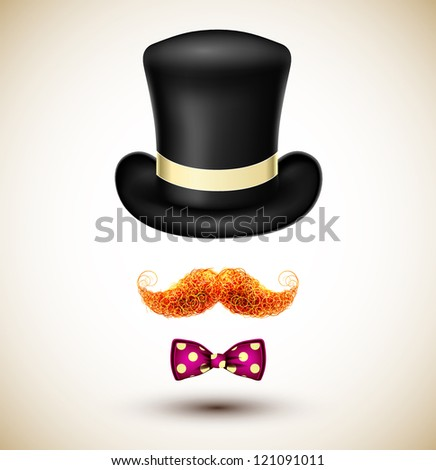 Accessories magician (hat, mustache and bow tie). Eps 10 - stock vector