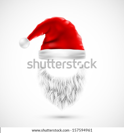 Accessories Santa Claus (hat and beard), eps 10 - stock vector