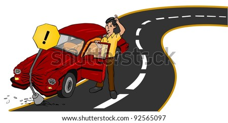 Accident Car on road - stock vector