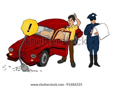 Accident Car with Traffic Police - stock vector