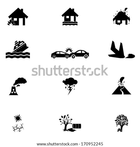 Accident icons set - stock vector
