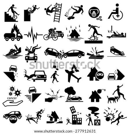 accident icons set for insurance, falling ladder, slippery, gas explosion, stumble, risks, cancer, bites, plane crash, thief, blast, murder, war, wheelchair, earthquake, building collapse, splint - stock vector